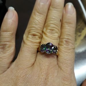 10k yellow gold mystic topaz ring